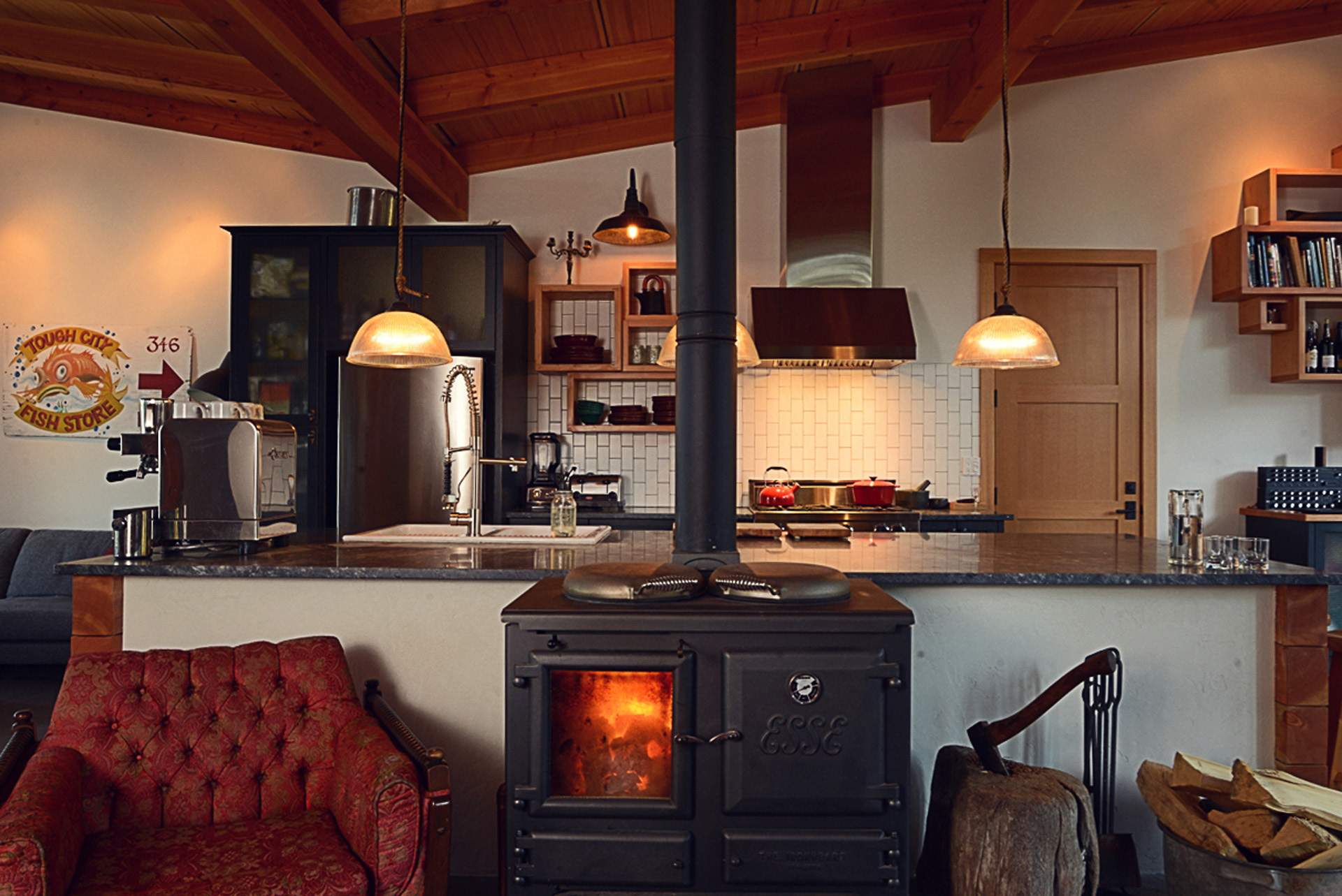 Tofino retreat with stove